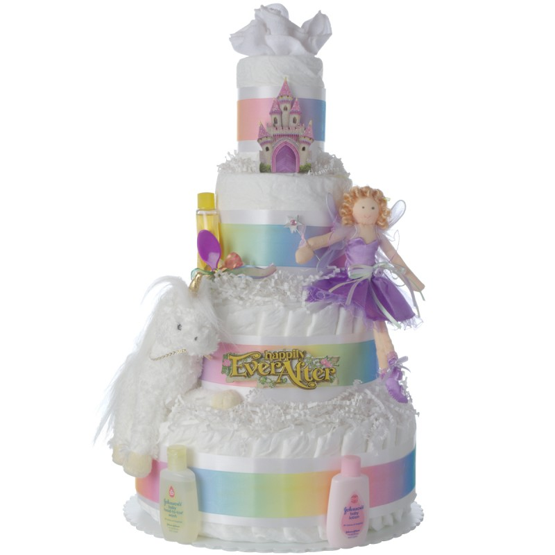 Happily Ever After Diaper Cake for Girls