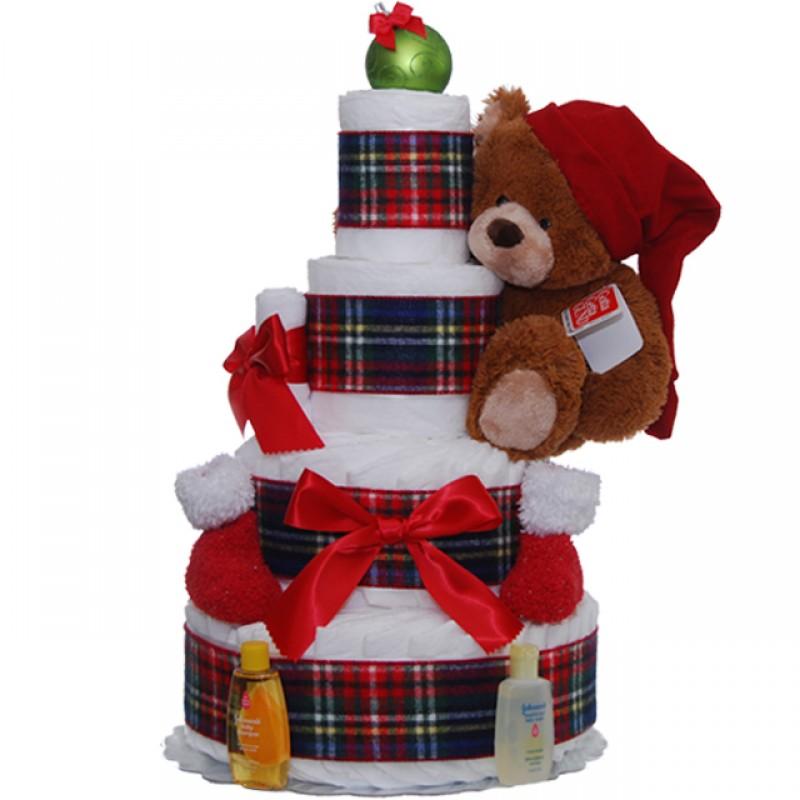 Holiday Teddy Diaper Cake