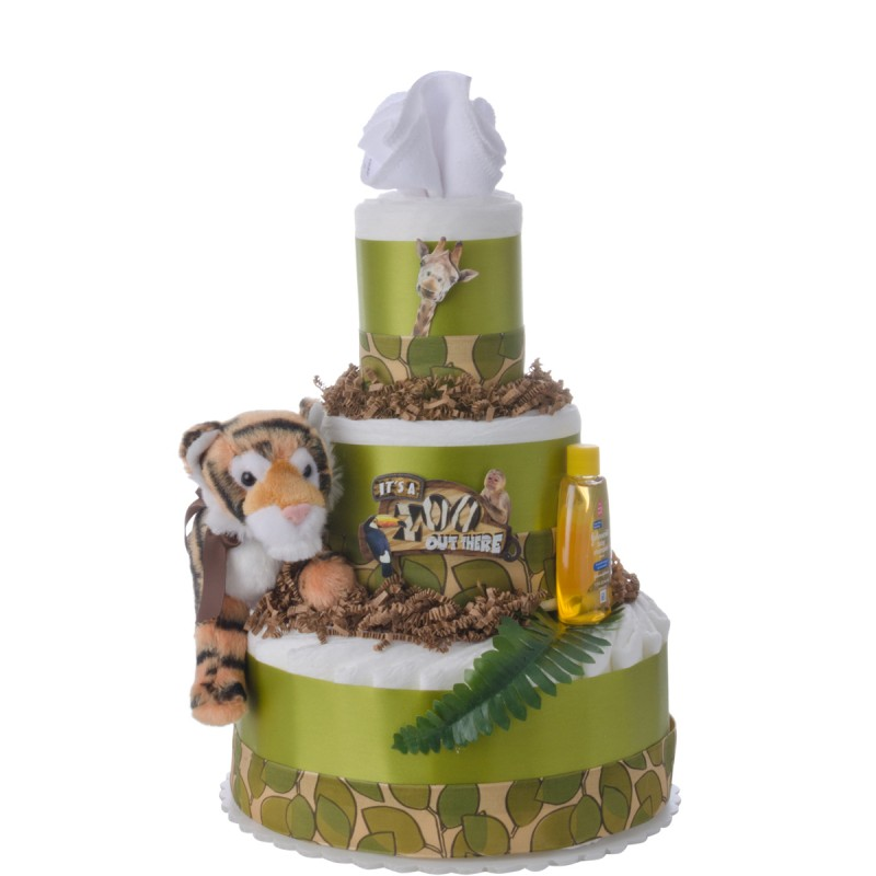 It's a Zoo Out There Baby Diaper Cake by Lil' Baby Cakes