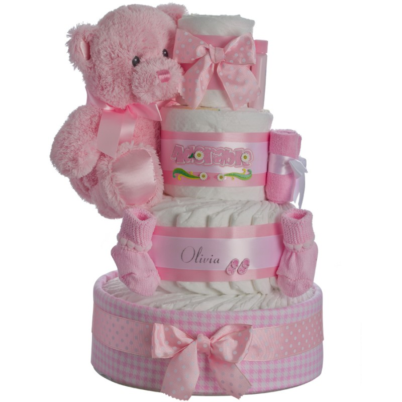 Lil' Adorable Girl Personalized Diaper Cake