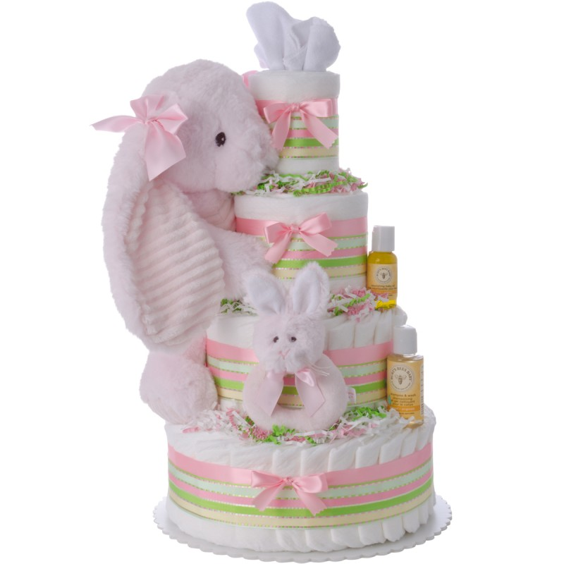 Lil Cottontail Diaper Cake for Girls by Lil' Baby Cakes