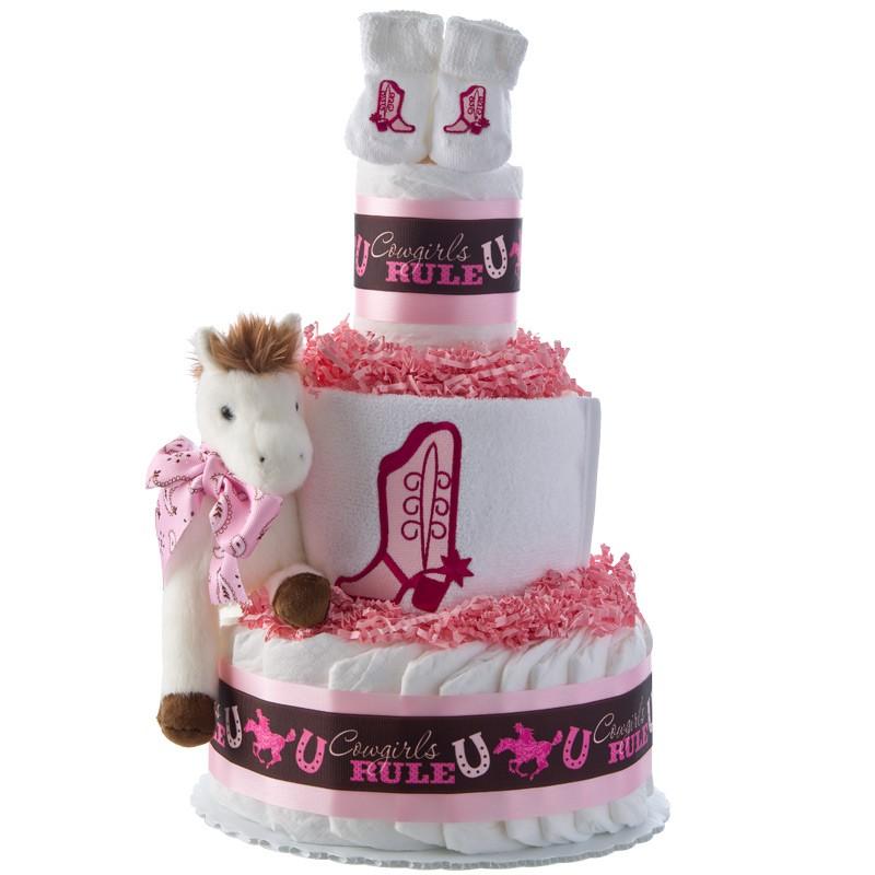 Cowgirls Rule 3 Tier Diaper Cake