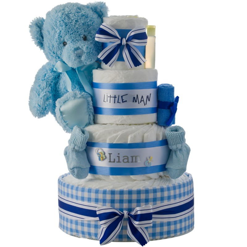 Little Man Personalized 4 Tier Diaper Cake