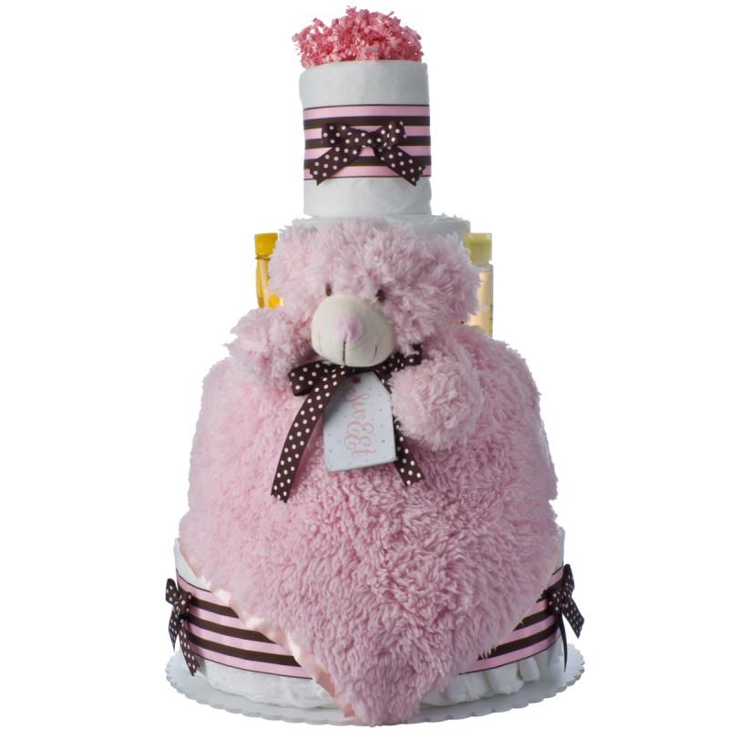 Lil' PInk Bear Baby Diaper Cake