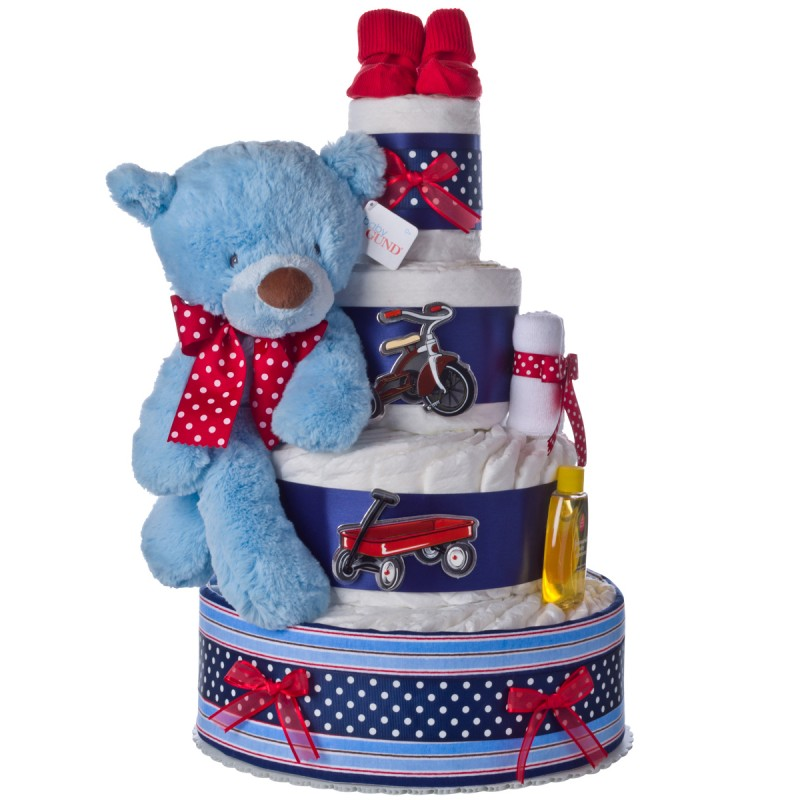 Lil Red Wagon 4 Tier Diaper Cake