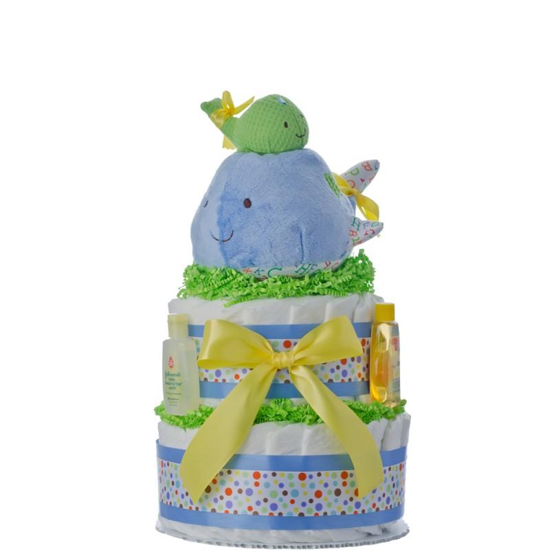 Lil' Whale 2 Tier Diaper Cake