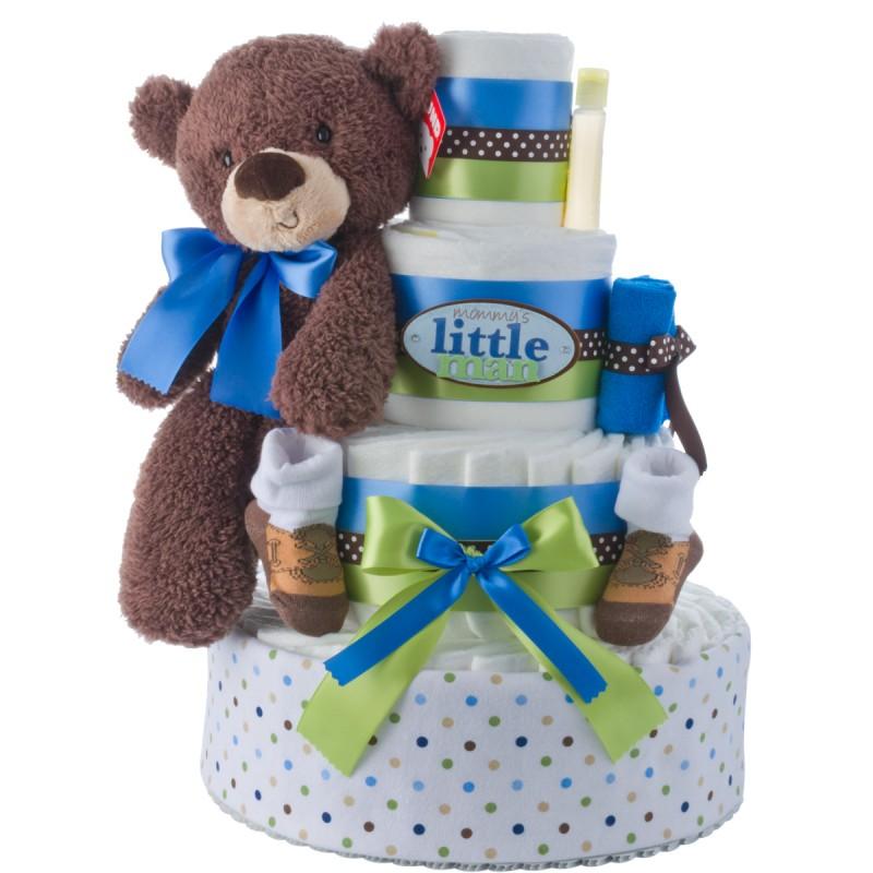 Mommy's Little Man 4 Tier Diaper Cake for Boys