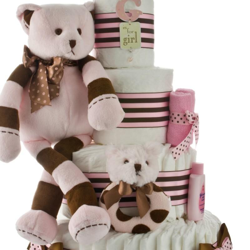 Pink Brown Bear Plush Animal