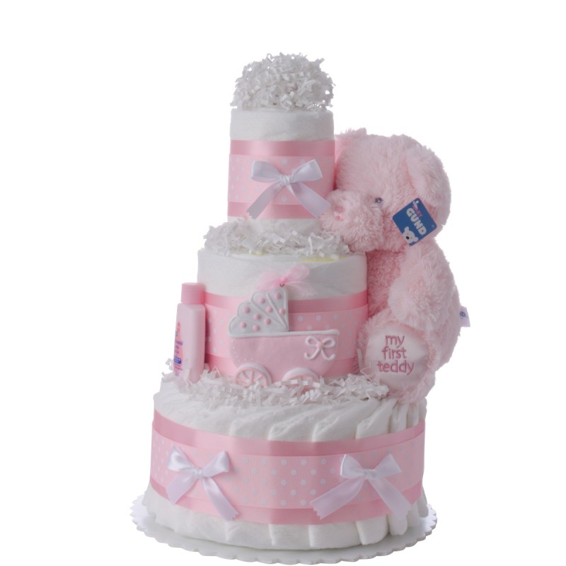 Pink Carriage Diaper Cake for Girls by Lil' Baby Cakes