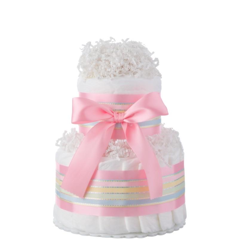 Pink Two Tier Mini Girls Diaper Cake