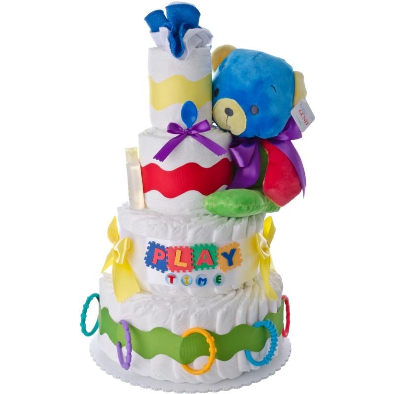 Playtime Bear 4 Tier Diaper Cake