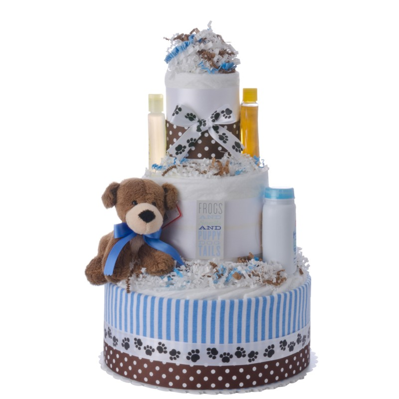 Puppy Tails Diaper Cake for Boys