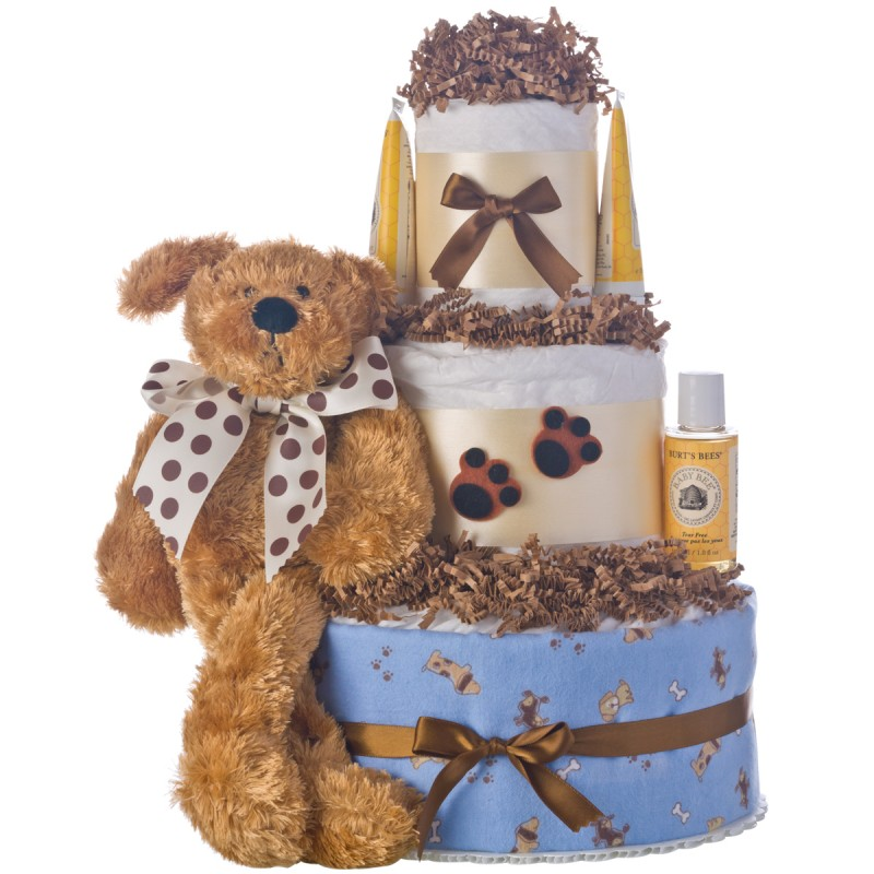 Puppy Prints Lil Baby Diaper Cake