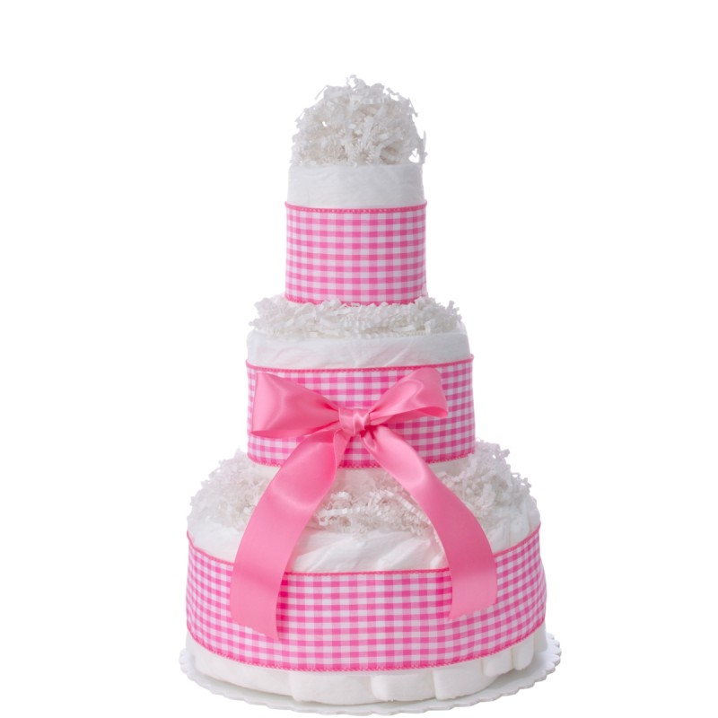 Sweet Pink Gingham 3 Tier Diaper Cake
