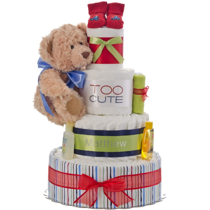 Too Cute Boy Personalized 4 Tier Diaper Cake