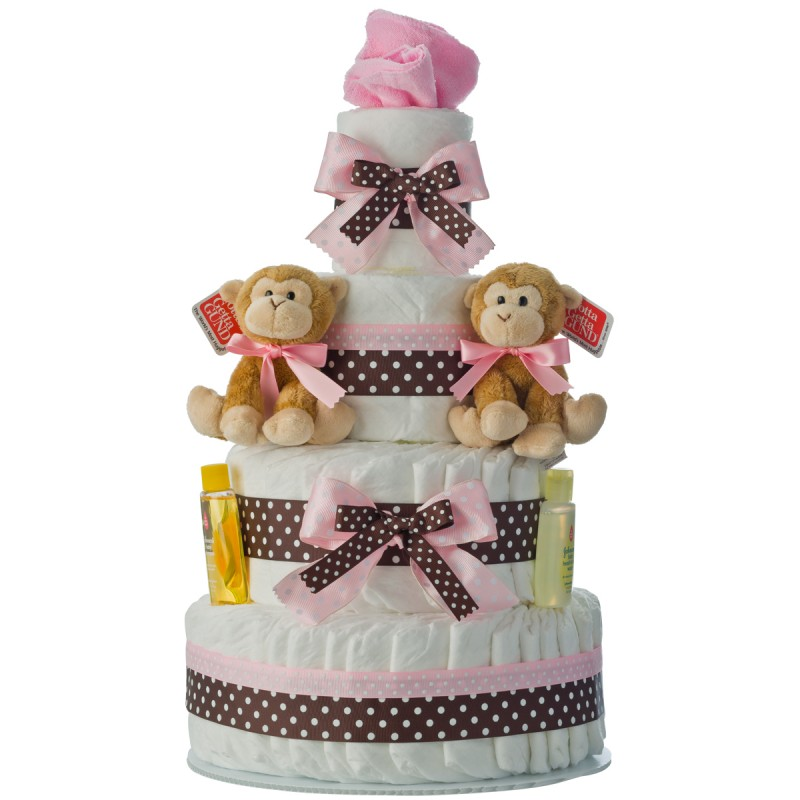 Twins Girls 4 Tier Diaper Cake